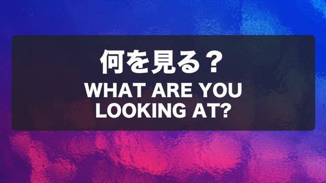 何を見る? What Are You Looking At?
